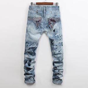 Мужская мода окрашены светло-голубые джинсы Slim Fit дизайнер прямые ноги байкер рок Возрождение Кристалл шпильки джинсовые брюки уличная 955