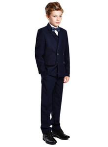 New Boy's Formal Wear Double-Breasted Navy Blue Peak Lapel Formal Occasion Kids Tuxedos Wedding Party Suits (Jacket+Pants+Vest+Tie) 611