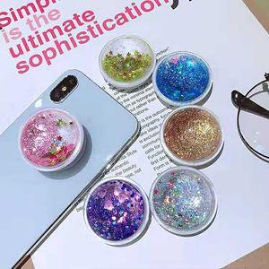 Soporte para teléfono 3D Quicksand Glitter para iPhone XS Max XR 8 7 Plus Samsung Note 9 Note8 Soporte para teléfono móvil 3M Glue Expandable Grip