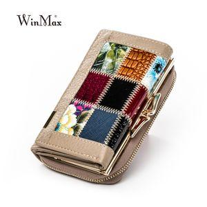 Winmax Neue patchwork Kleine Frauen Geldbörsen Weibliche Echtes Leder Frauen Brieftasche Reißverschluss Design Geldbörse Taschen momey organizer