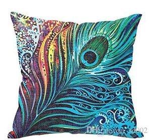 Coprimaterasso in lino cotone Home Decorate Coprisedili Fodera colorata Federa in piume di pavone Pratico Easy Carry Novel 8ht cc
