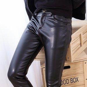 Yeni Elastik PU Erkek Deri Pantolon Tüm Cilt Tayt Pantolon Yıkanmış PU Deri Pantolon Erkekler Ayak Pantolon Hip Hop erkekler moda