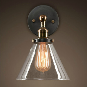 로프트 산업용 벽 램프 빈티지 머리맡 벽 조명 취소 유리 전등 갓 E27 에디슨 전구 110V / 220V