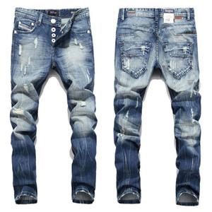 Mode Hommes Jeans Balplein Marque Straight Fit Jeans Designer Ripped Italian Distressed Denim Jeans Homme gros