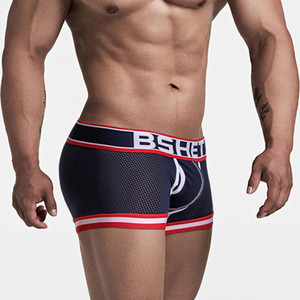 2019 Cotton Male Underwear Trunk Mens Mesh Boxers Sexy Underwear Mens Breathable Underpants Male Panties Shorts U Convex Pouch
