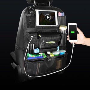 Armazenamento Car Auto Bolsa Seat Multi bolso de armazenamento de viagem Hanger USB Car Charger Seat Cover Organizer Titular Backseat