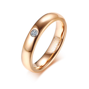 Free Engraving 4MM Rose Gold Tungsten Wedding Ring High Polished CZ Inlay Solitaire Wedding Band Engagement Ring For Women US Size 7-9
