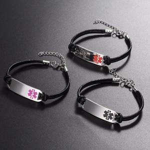 12 teile / los großhandel neue mode Einfachen Leder Link Edelstahl Medical Alert ID Armband für Frauen schmuck geschenk