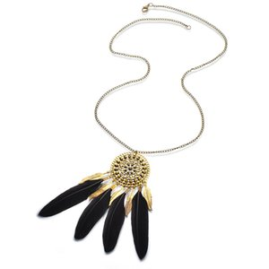 Pretty Tassel Feather Pendant Necklace Vintage Exquisite Long Chain Necklace Bohemian Sweater Statement Necklace