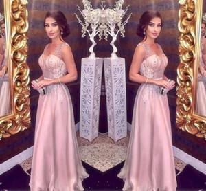 Elegante Erröten rosa Abendkleider Lange 2020 A-Line Sexy Straps mit V-Ausschnitt Haupt Friesen Prom Partei roter Teppich-Kleid Mädchen-Festzug-Kleider Günstige