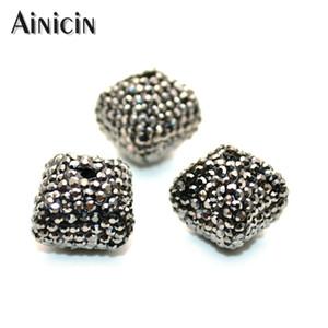 20pcs noir strass pavé octaèdre perles en vrac trou de diamètre 2mm pour la prise de bijoux de mode