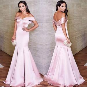 2018 Lunghezza del pavimento abiti da ballo Elegante Off spalla raso sirena abiti da sera formale Prom Dress increspato abiti da sera rosa brillante