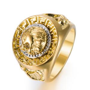 Stile punk Hip oro degli uomini di colori classica Hop anello monili freddi Lion Head Band anello di oro