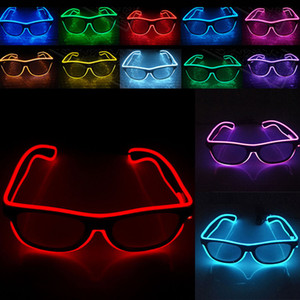 NEW LED Party Glasses Fashion EL Wire glasses عيد ميلاد المسيح حزب بار شريطيّ زخرفيّ Luminous Glasses Eyewear HH7-808