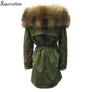 Soperwillton Новый 2018 зимняя куртка женщин реальный большой Енот меховой воротник толстый свободный размер пальто и пиджаки парки зеленый #A050 S18101102