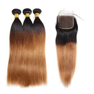 IShow 10A Ombre Couleur premières Tissages cheveux Extensions 3Bundles avec fermeture 1b / 30 T1B / 99J vague de corps humain Cheveux T1B droite / BOGUE Violet