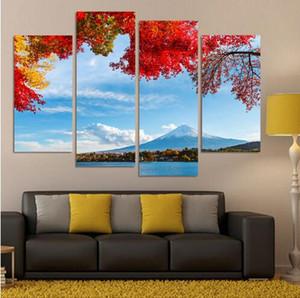 4 개의 직사각형 Cuadros 벽 아트 인쇄 Painting Canvas Pictures 실내 데코 풍경 현실 주의자 일본의 후지산 풍경
