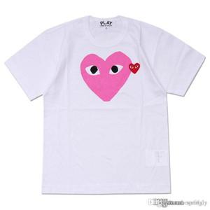 2018 el más nuevo COM camiseta de los hombres Blanco rosado corazón des Garcons Camiseta blanca de los hombres Camiseta verde del gráfico grande del gráfico