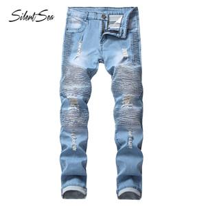 Silentsea mens designer vêtements jean pantalon en jean plissé korean rock stretch jean déchiré déchiré jean droit