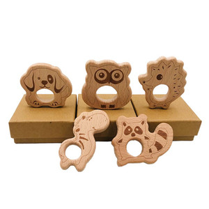Baby Wood Teether Nature Nature Baby Baby Wood Juguete Juguete Madera Owl Dog Hedge Hethog Shemes Masticing Colgante DIY Accesorios