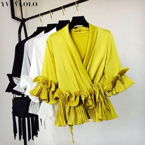 YVYVLOLO Solid Ruffles Patchwork Mujer tops y Blusa 2018 Nuevo V-Neck Gasa Fajas Camisas Mujer Ropa Mujer