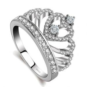 Lovers Crown Anello 3a Zircon Cz 925 Sterling Silver Filled Fidanzamento Wedding Band Ring per donna uomo