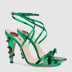 2018 Catwalk models summer new list European and American genuine leather shoes stiletto high heels snake buckle cross straps bow sandals
