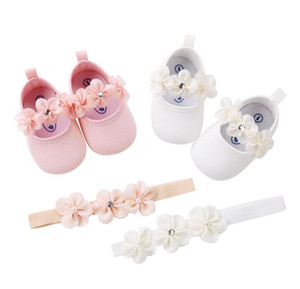 Fashion 2018 New 2pcs/set Flower Headband + Baby Girl Shoes white pink color first walker gift solid soft sole mary jane shoes