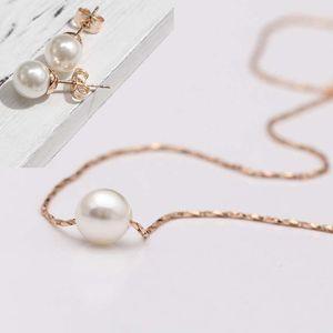 2015 nuevo Mini collar y arete colgante de perlas para mujer, cadenas de aretes y aretes chapados en oro de 18 kt, joyería de moda