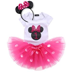 Baby Little Girl 1st First Birthday Outfits Kleinkind-Säugling Partei-Kleid Neugeborene Taufe Kinderkleidung für Mädchen Brautkleid Tutu Tulle Kostüm