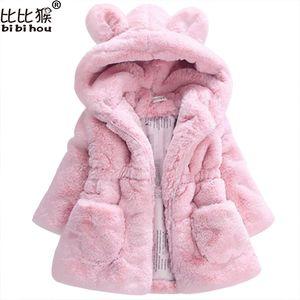 2017 invierno cálido bebé chicas cintura ropa exterior niños imitación piel conejo orejas abrigo niños chaqueta navidad snowsuit de ropa exterior ropa exterior