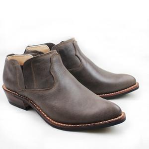 Сшитые вручную замши из натуральной кожи натуральной кожи Western Cowboy Shoes Мужские сапоги для верховой езды Martin Zapatos Hombre Boots Ботильоны мужские Большие 45 US11