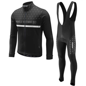 Morvelo 2020 fashion team Men Cycling long Sleeves jersey bib pants sets customizable direct sales Cold protection Y20112104