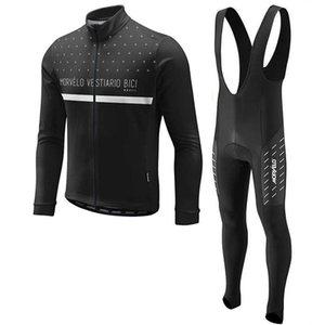 Morvelo 2020 Mode Team Männer Radfahren Langarm Jersey BIB Pants Sets Anpassbare Direktverkäufe Kaltschutz Y20112104