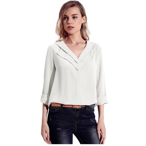 Tasarımcı Kadın Bluz Gömlek Ofis Ladie Artı Boyutu Düğmesi Ön Sonbahar Uzun Kollu Şifon Yaka V Boyun Rulo Kollu Tops