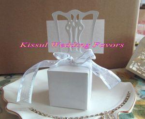 200Pcs / серия Миниатюрный держатель стул Место карты и Favor Box в Белая коробка конфет для партии украшения Подарочные коробки и Люкс милостей
