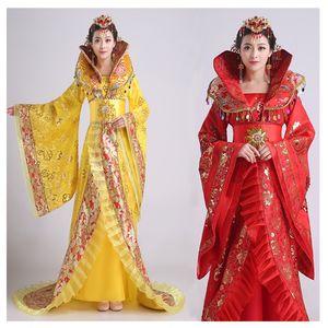 Kadın standı yaka asil mizaç firar dress tang hanedanı giyim kraliçesi antik kostüm hanfu elbise kraliçesi