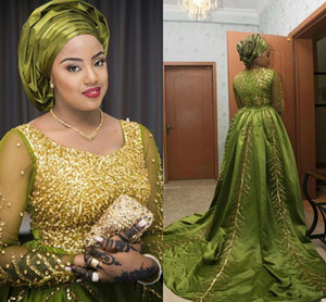2018 Aso Ebi estilo árabe noite vestidos com decote em V mangas compridas lantejoulas cristais vestidos de noite de cetim vestidos de baile