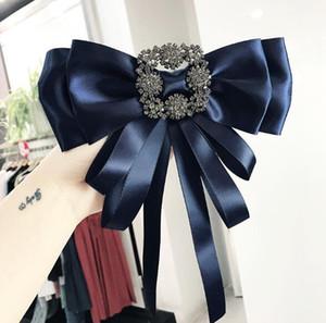 Eur Vintage Krawatte Stile Broschen Geometrie Kristall Corsage Seidenband Bowknot Brosche Pins Adrette Brosche Hemd Zubehör Schmuck
