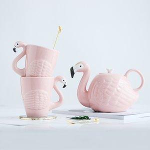 3D Animal Flamingos Pájaros Teteras Súper Belleza ins Chica Rosa Cerámica Animal Lindo Taza de Café Pot Taza Regalo de Cumpleaños Decoración