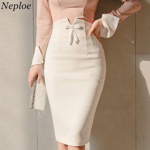 Kadınlar Kalem Etek Yüksek Bel Çantası Kalça Bow Tie Bayanlar Şık Etekler İnce Diz boyu Beyaz Artı boyutu Etek