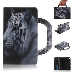 Custodia tablet per Lenovo Tab 3 8 Plus P8 TB-8703F Custodia pieghevole Custodia in pelle Portafoglio colorato Disegno tigre Leone lupo Coque