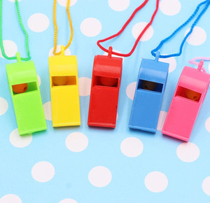 Colorful Plastic Whistle With Lanyards World Cup Coaches Referee Whistles Football Sports Lifeguards Survival Training Free DHL G765R