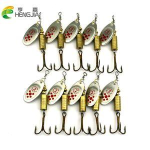 Hengjia 20Pcs New Metal Spoon Spinnerbait Fishing Lures With Treble Hooks Wobbler Goldon Sequins Baits 6.7CM-7.3G
