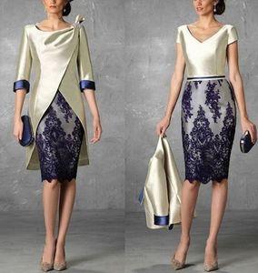 Waishidress Dois pedaços Mãe curta dos vestidos de noiva com jaqueta 1/2 mangas lace apliques bainha vestidos de noite