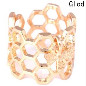 Ape regolabile a forma di esagono aperto acciaio inossidabile signore anelli colore oro a nido d'ape unico regalo per le donne gioielli partito bague femme