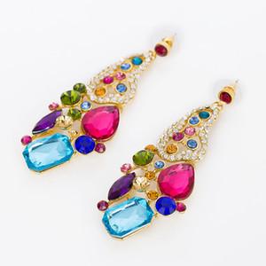 En gros De Mode De Style Or Couleur Coloré Cristal Strass Dangle Drop Boucle D'oreille Bijoux Femmes Parti Accessoires E096
