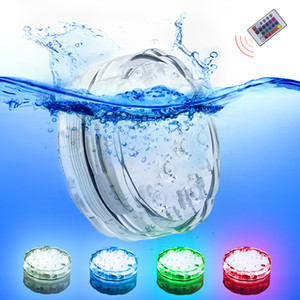 10leds RGB Led luz subaquática Pond submersível IP67 Waterproof Piscina Luz Operado a bateria for Wedding Party
