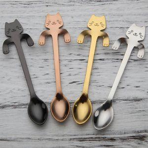Paslanmaz çelik kedi kahve kaşığı dessertspoon Gıda sınıfı dondurma şeker kaşığı Karikatür kedi kolu süspansiyon kaşık