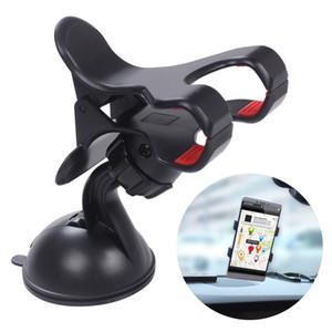 360 الدورية العالمي الزجاج الأمامي سيارة مزدوجة كليب جبل نافذة / سطح المكتب الالتصاق حامل حامل مهد لأجهزة الهاتف الخليوي gps